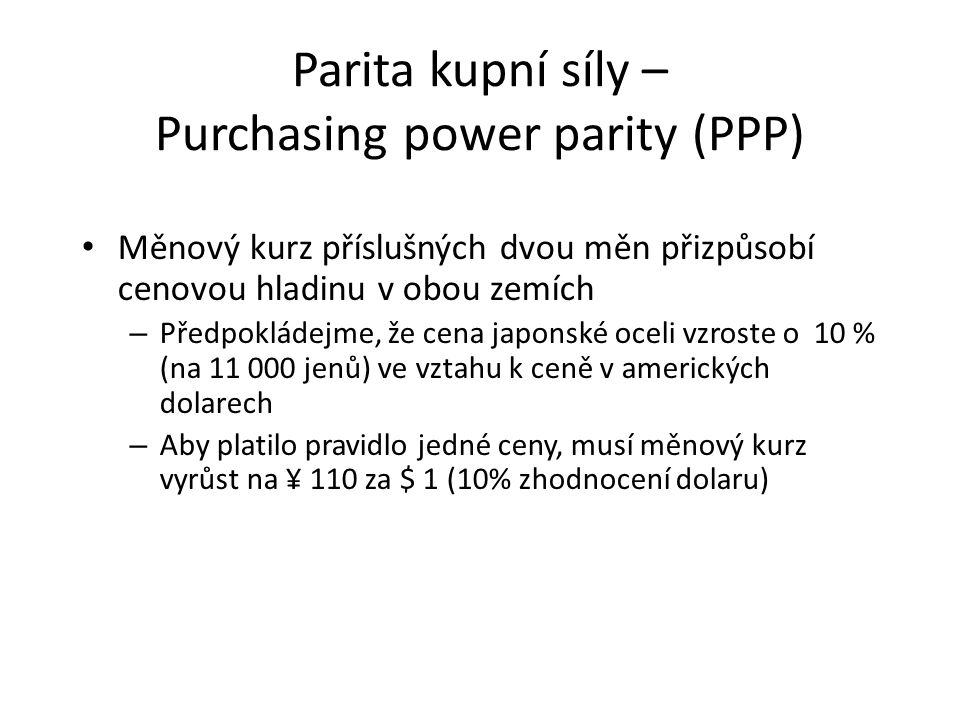 Parita kupní síly – Purchasing power parity (PPP)