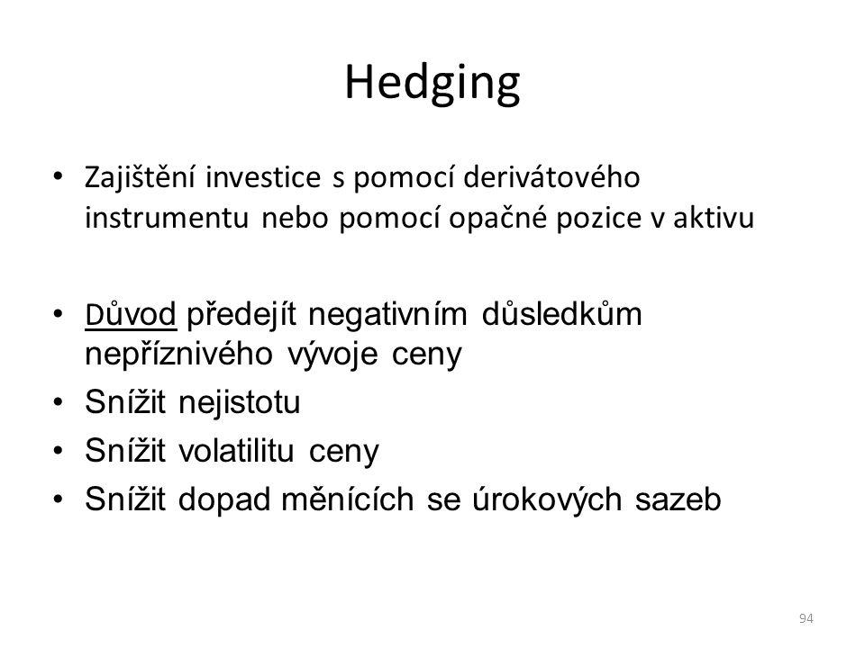 Hedging Zajištění investice s pomocí derivátového instrumentu nebo pomocí opačné pozice v aktivu.