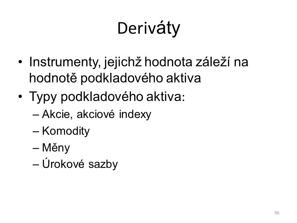 Deriváty Instrumenty, jejichž hodnota záleží na hodnotě podkladového aktiva. Typy podkladového aktiva: