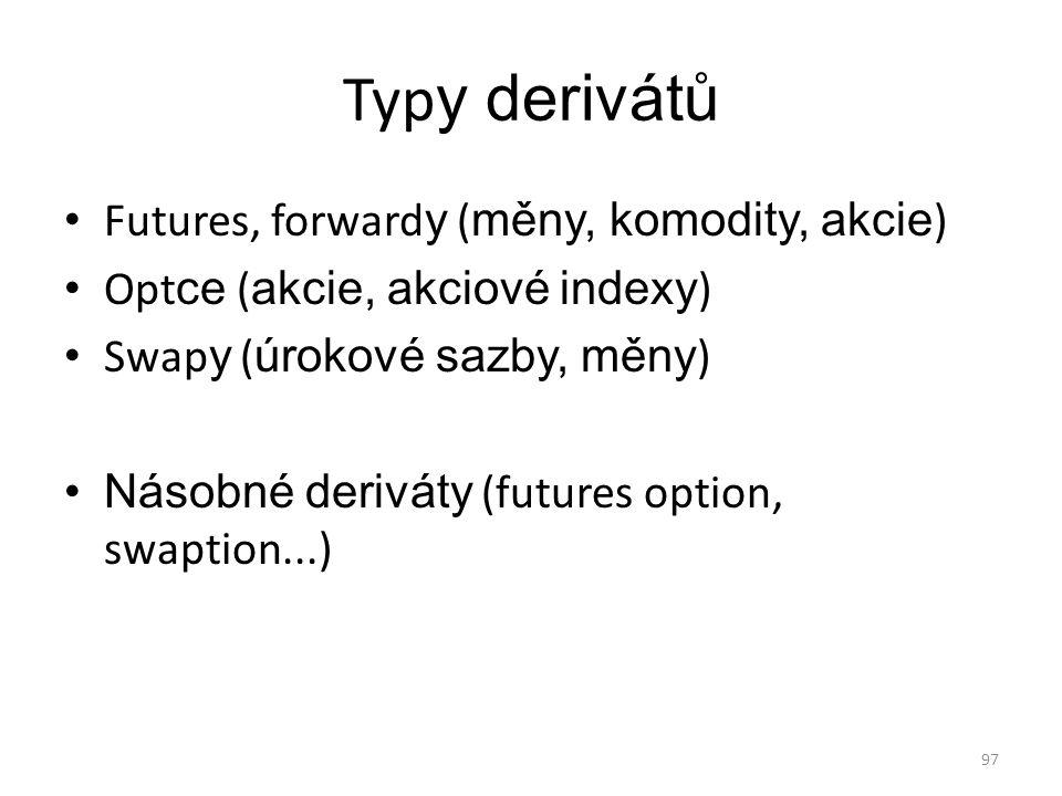 Typy derivátů Futures, forwardy (měny, komodity, akcie)