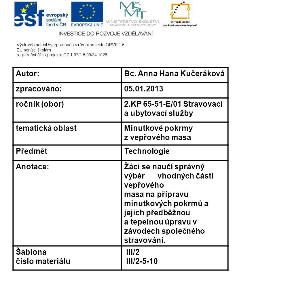 Bc. Anna Hana Kučeráková zpracováno: 05.01.2013 ročník (obor)