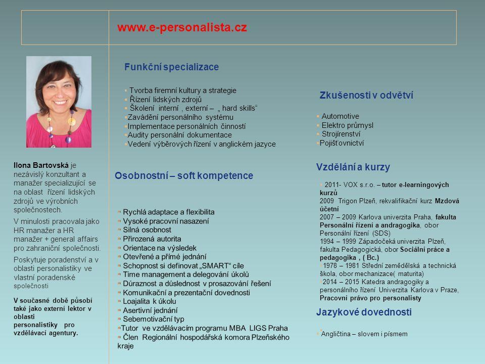 www.e-personalista.cz Funkční specializace Zkušenosti v odvětví