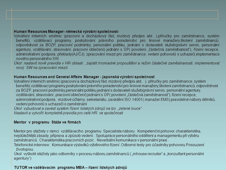 Human Resources Manager- německá výrobní společnost-
