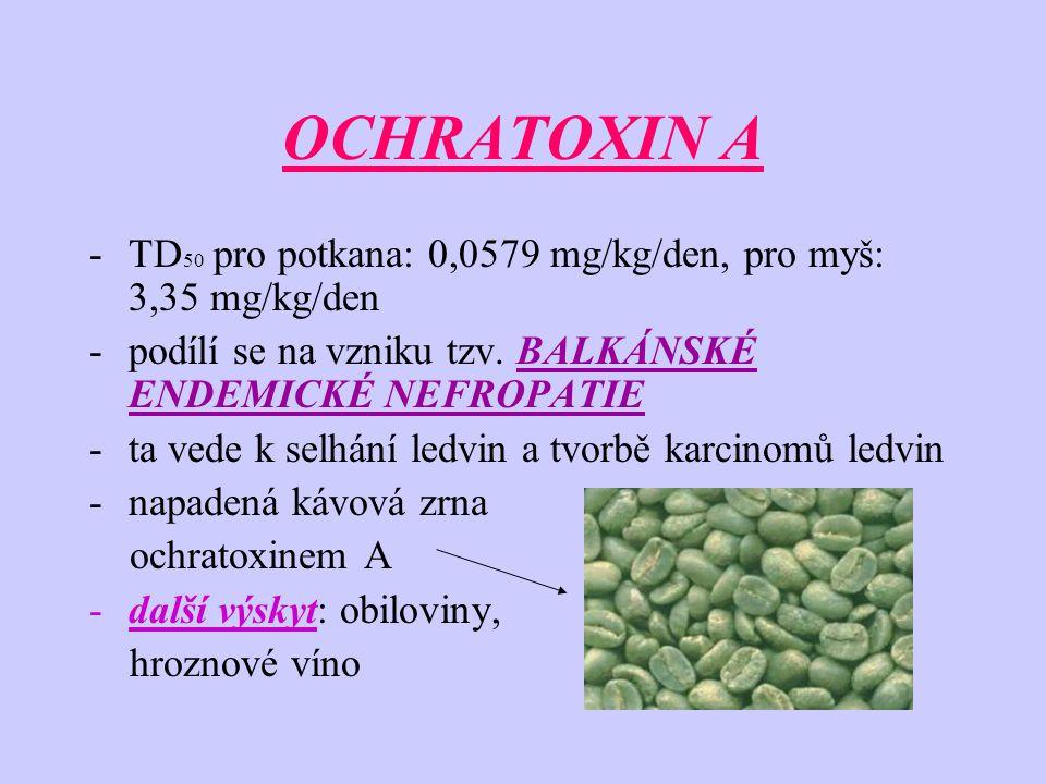 OCHRATOXIN A TD50 pro potkana: 0,0579 mg/kg/den, pro myš: 3,35 mg/kg/den. podílí se na vzniku tzv. BALKÁNSKÉ ENDEMICKÉ NEFROPATIE.
