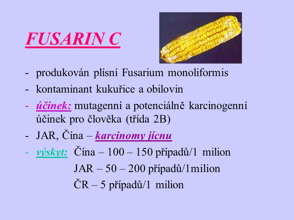 FUSARIN C produkován plísní Fusarium monoliformis