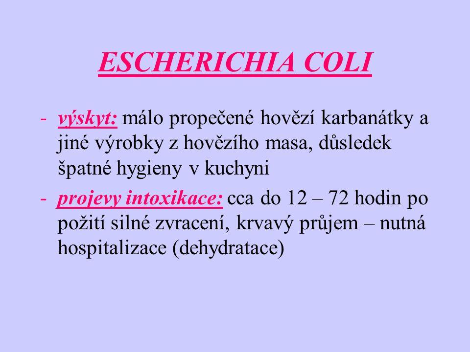 ESCHERICHIA COLI výskyt: málo propečené hovězí karbanátky a jiné výrobky z hovězího masa, důsledek špatné hygieny v kuchyni.