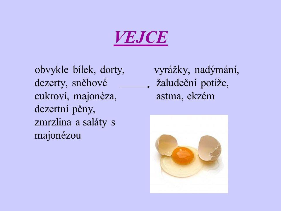 VEJCE obvykle bílek, dorty, dezerty, sněhové cukroví, majonéza, dezertní pěny, zmrzlina a saláty s majonézou.