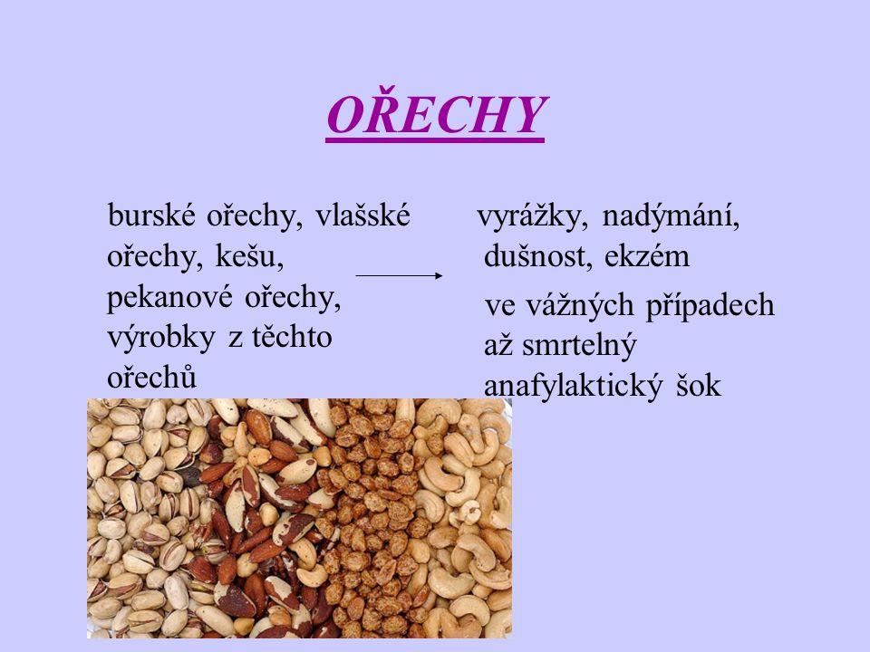 OŘECHY burské ořechy, vlašské ořechy, kešu, pekanové ořechy, výrobky z těchto ořechů. vyrážky, nadýmání, dušnost, ekzém.