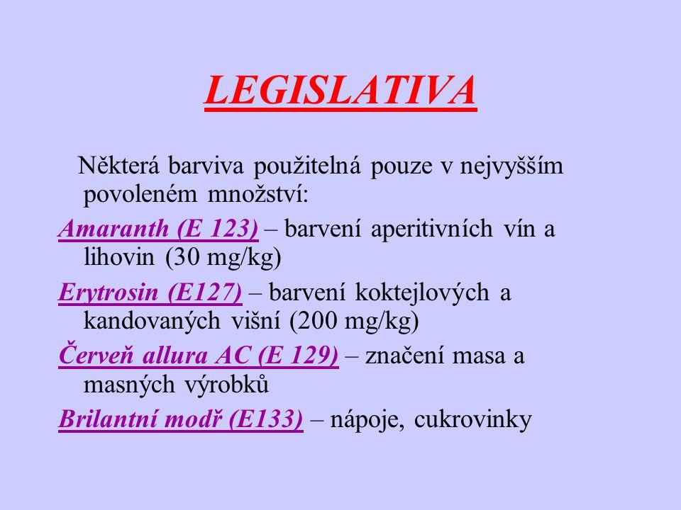 LEGISLATIVA Některá barviva použitelná pouze v nejvyšším povoleném množství: Amaranth (E 123) – barvení aperitivních vín a lihovin (30 mg/kg)