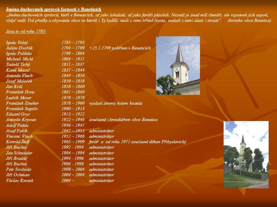 Jména duchovních správců farnosti v Beneticích