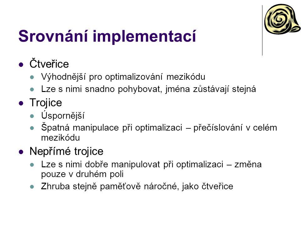Srovnání implementací