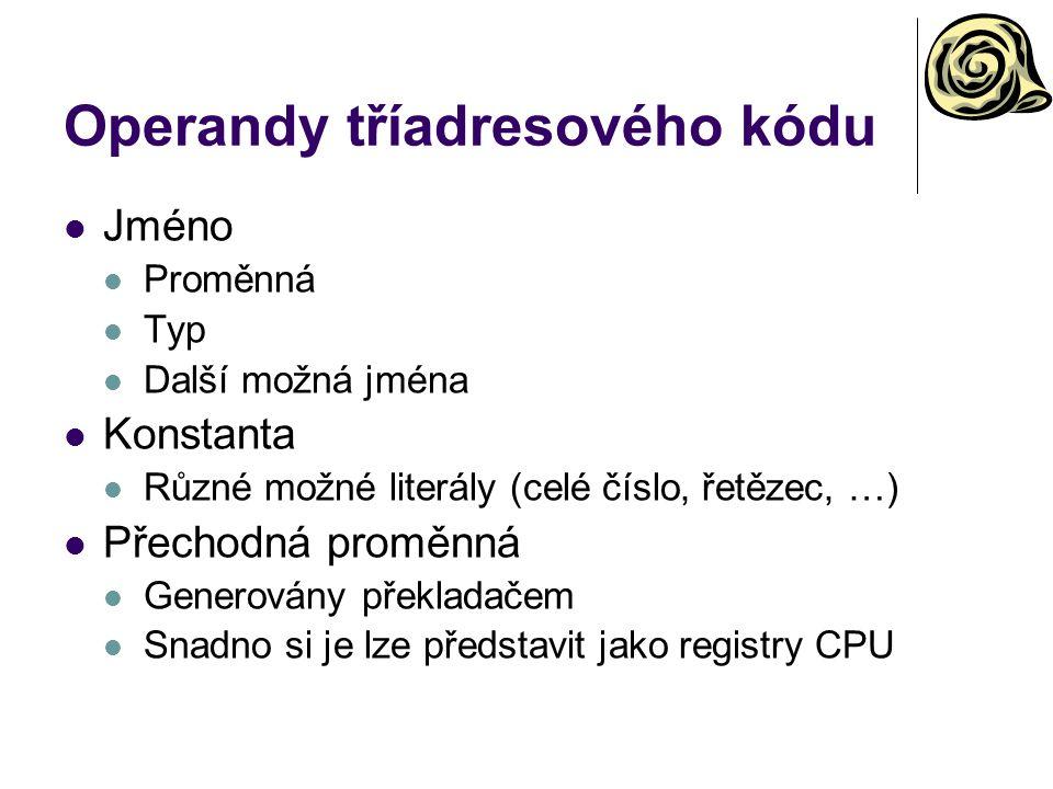 Operandy tříadresového kódu
