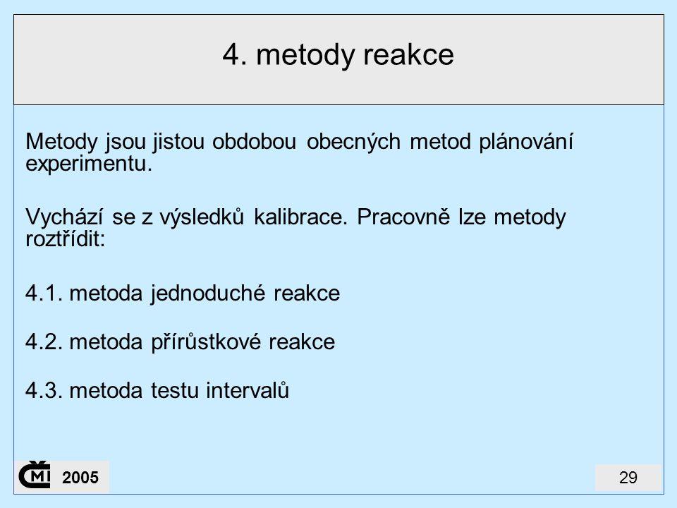 4. metody reakce Metody jsou jistou obdobou obecných metod plánování experimentu. Vychází se z výsledků kalibrace. Pracovně lze metody roztřídit: