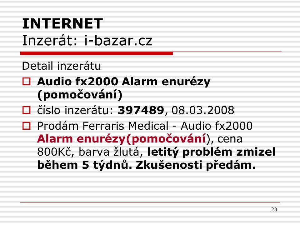 INTERNET Inzerát: i-bazar.cz