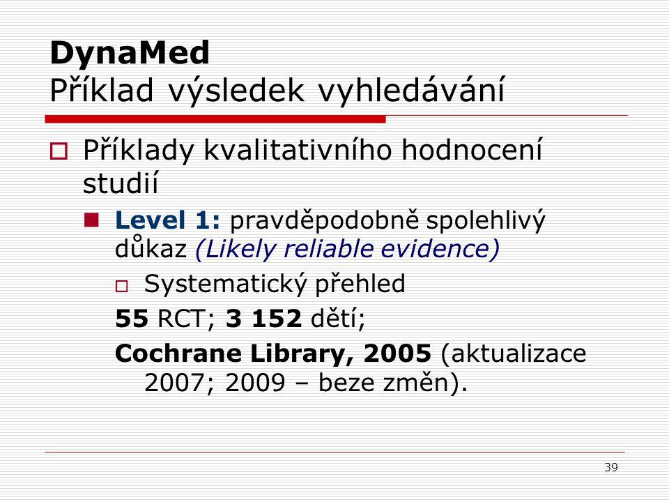 DynaMed Příklad výsledek vyhledávání