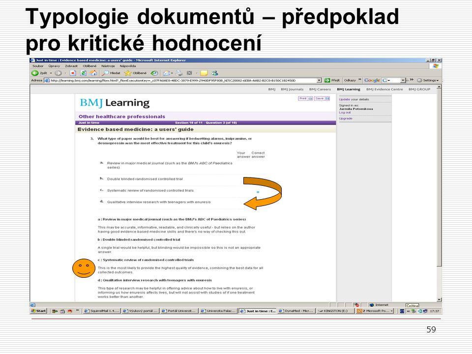 Typologie dokumentů – předpoklad pro kritické hodnocení