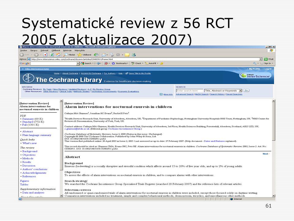 Systematické review z 56 RCT 2005 (aktualizace 2007)