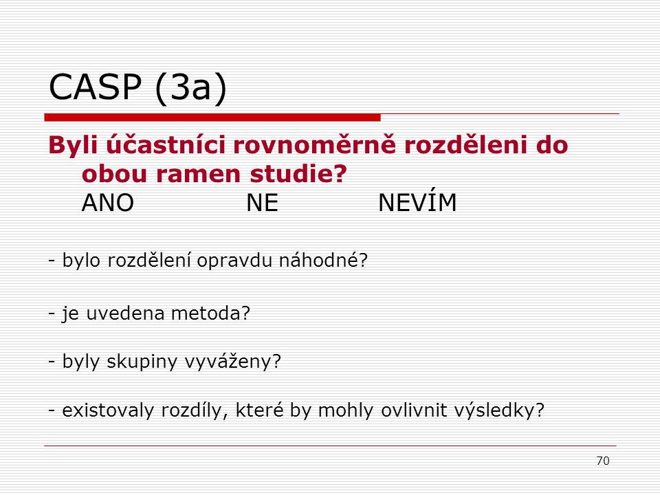 CASP (3a) Byli účastníci rovnoměrně rozděleni do obou ramen studie ANO NE NEVÍM. - bylo rozdělení opravdu náhodné