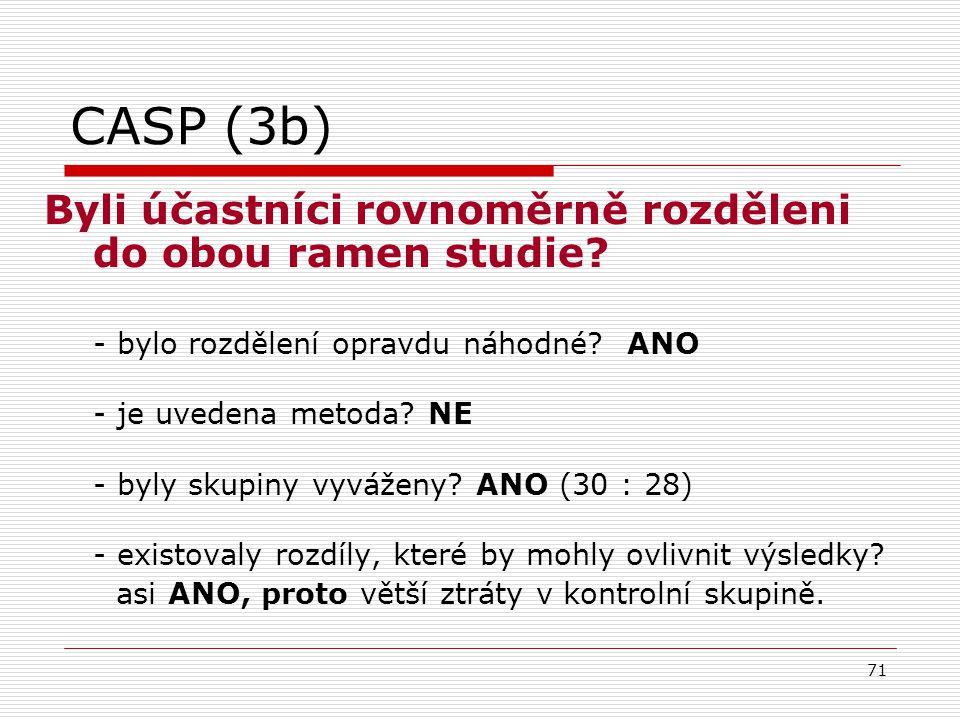 CASP (3b) Byli účastníci rovnoměrně rozděleni do obou ramen studie
