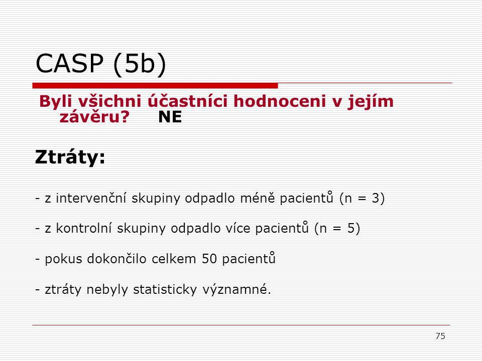 CASP (5b) Byli všichni účastníci hodnoceni v jejím závěru NE. Ztráty: - z intervenční skupiny odpadlo méně pacientů (n = 3)