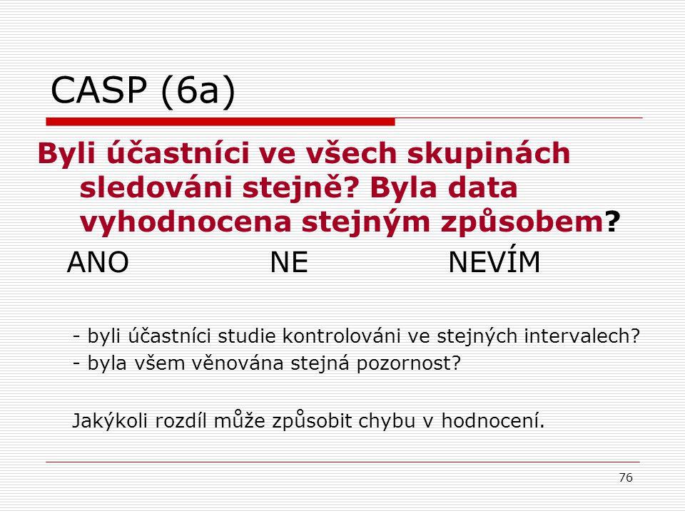 CASP (6a) Byli účastníci ve všech skupinách sledováni stejně Byla data vyhodnocena stejným způsobem