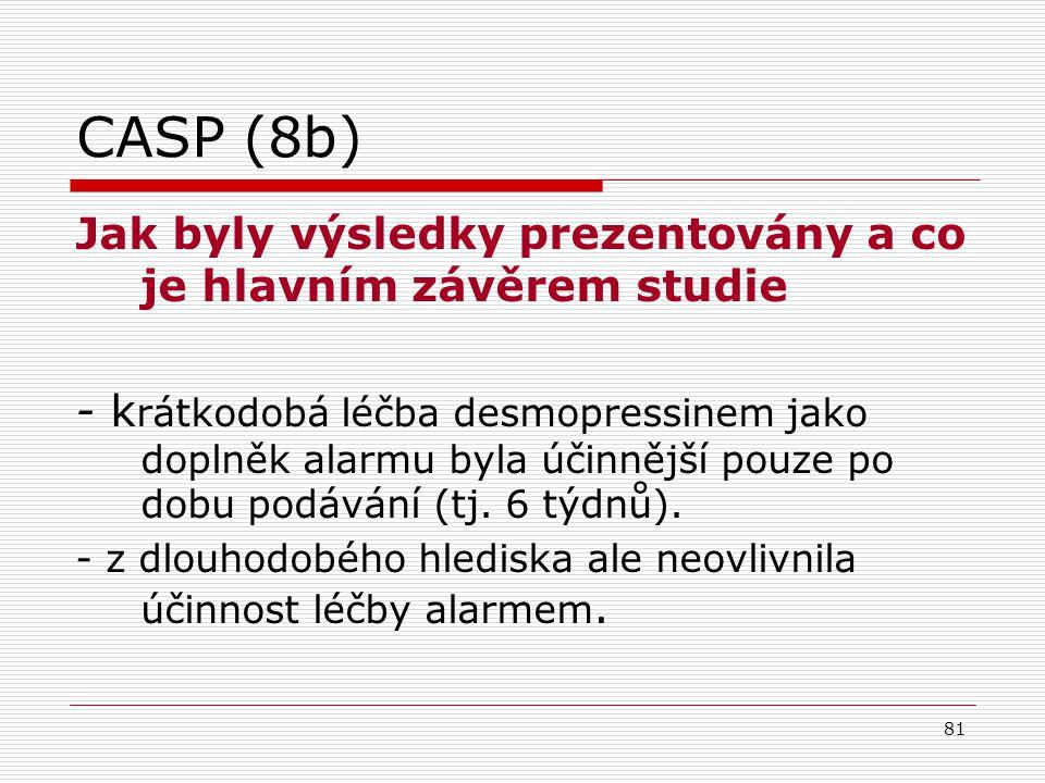 CASP (8b) Jak byly výsledky prezentovány a co je hlavním závěrem studie.
