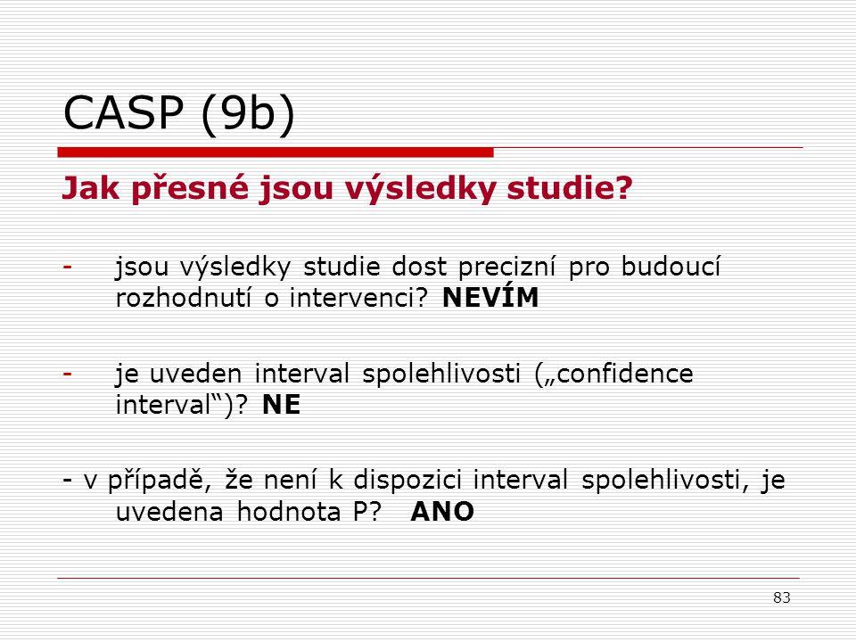 CASP (9b) Jak přesné jsou výsledky studie