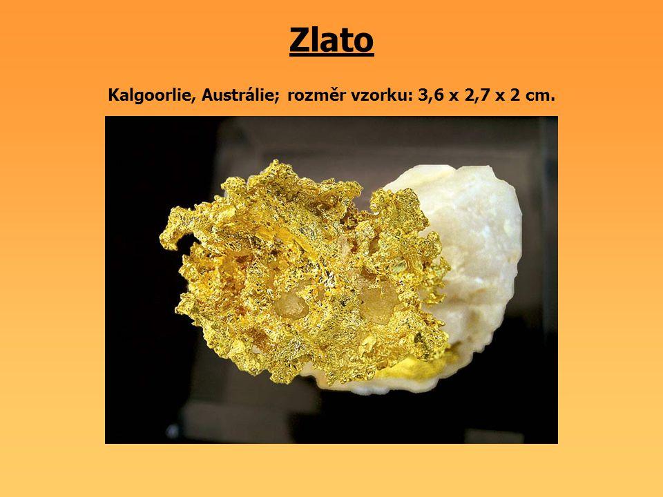 Zlato Kalgoorlie, Austrálie; rozměr vzorku: 3,6 x 2,7 x 2 cm.