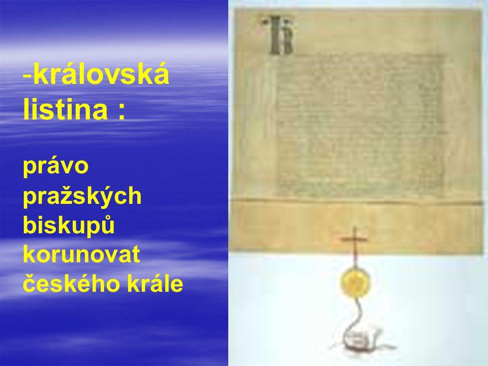 královská listina : právo pražských biskupů korunovat českého krále