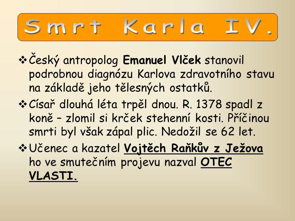 Smrt Karla IV. Český antropolog Emanuel Vlček stanovil podrobnou diagnózu Karlova zdravotního stavu na základě jeho tělesných ostatků.