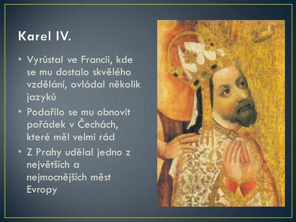 Karel IV. Vyrůstal ve Francii, kde se mu dostalo skvělého vzdělání, ovládal několik jazyků.