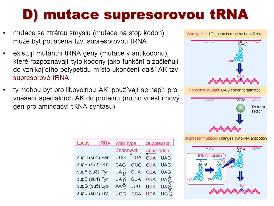 D) mutace supresorovou tRNA