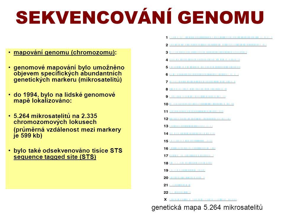 SEKVENCOVÁNÍ GENOMU genetická mapa 5.264 mikrosatelitů