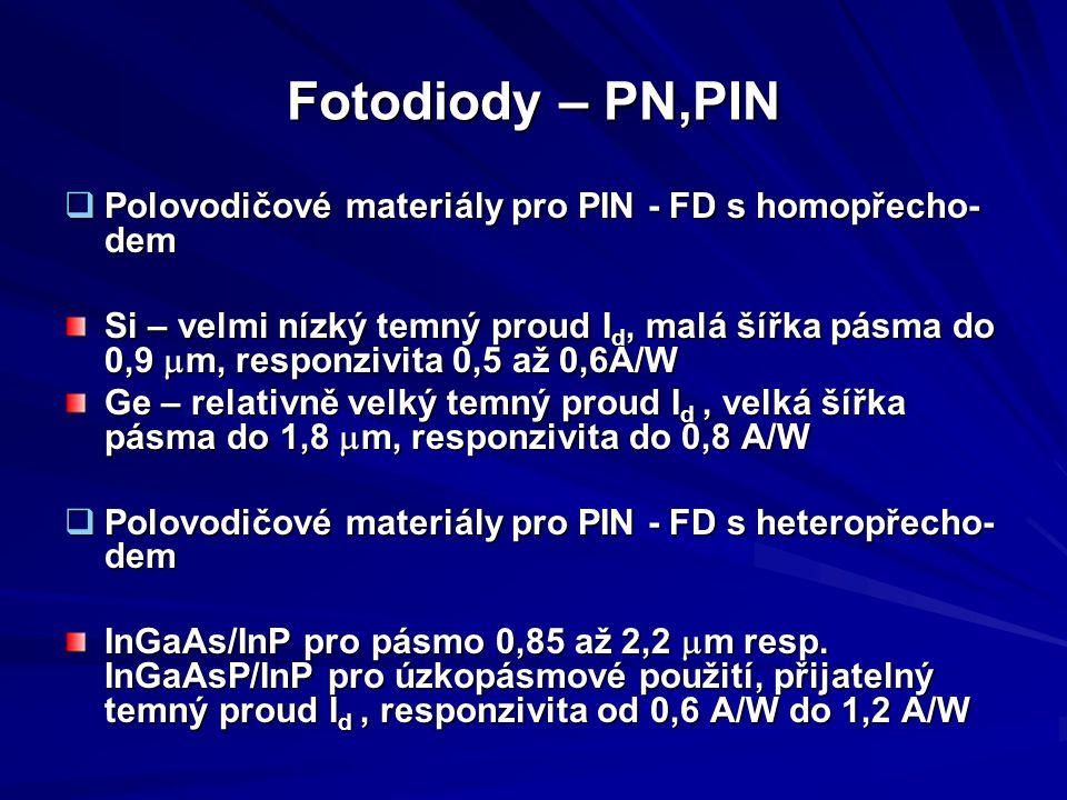 Fotodiody – PN,PIN Polovodičové materiály pro PIN - FD s homopřecho-dem.