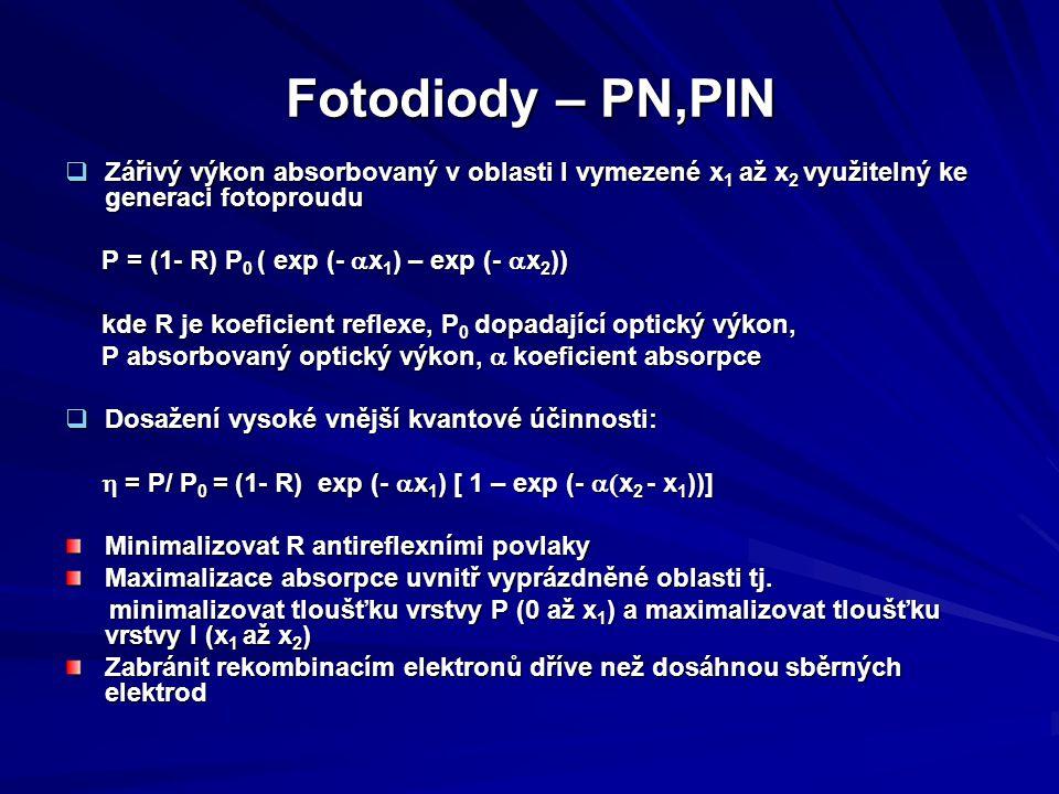 Fotodiody – PN,PIN Zářivý výkon absorbovaný v oblasti I vymezené x1 až x2 využitelný ke generaci fotoproudu.
