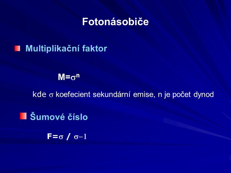 Fotonásobiče Multiplikační faktor M=sn Šumové číslo