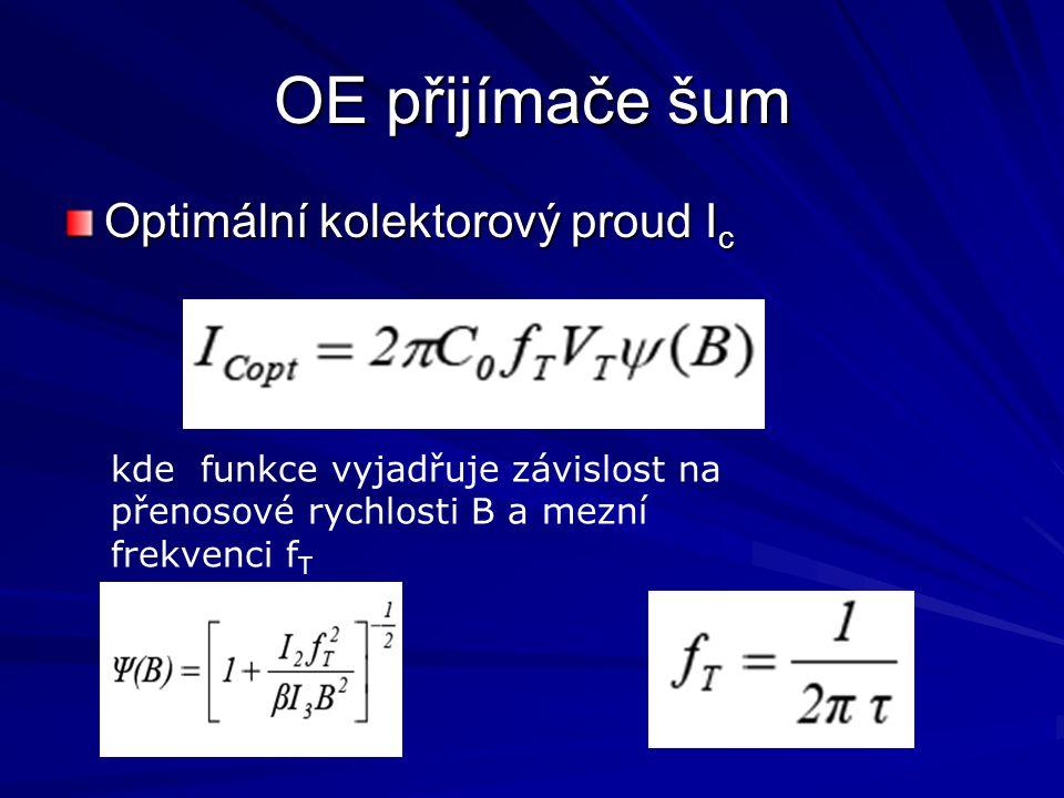 OE přijímače šum Optimální kolektorový proud Ic