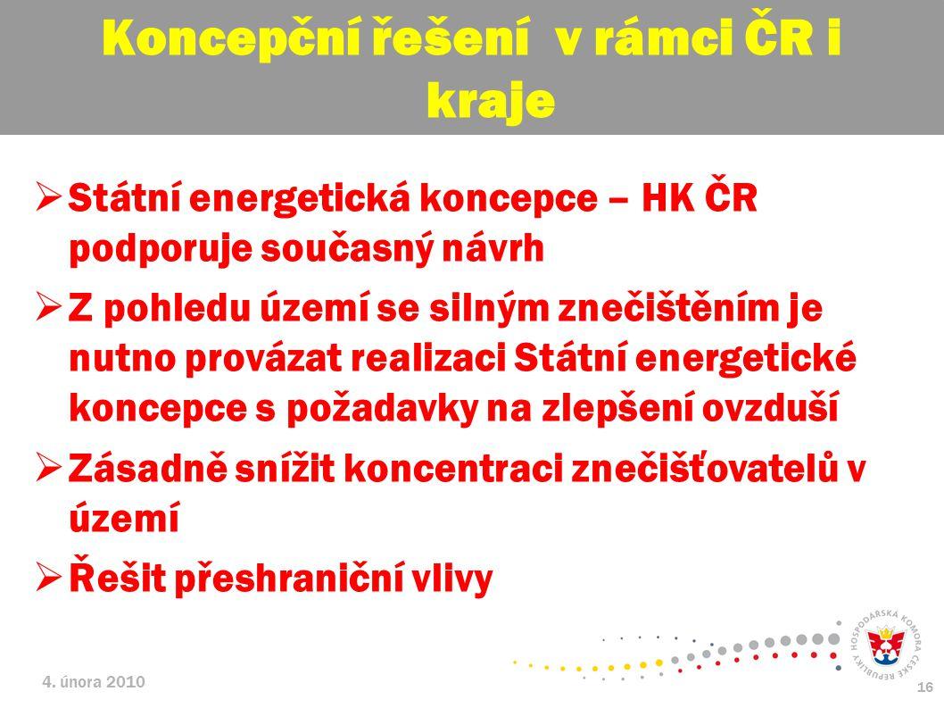 Koncepční řešení v rámci ČR i kraje