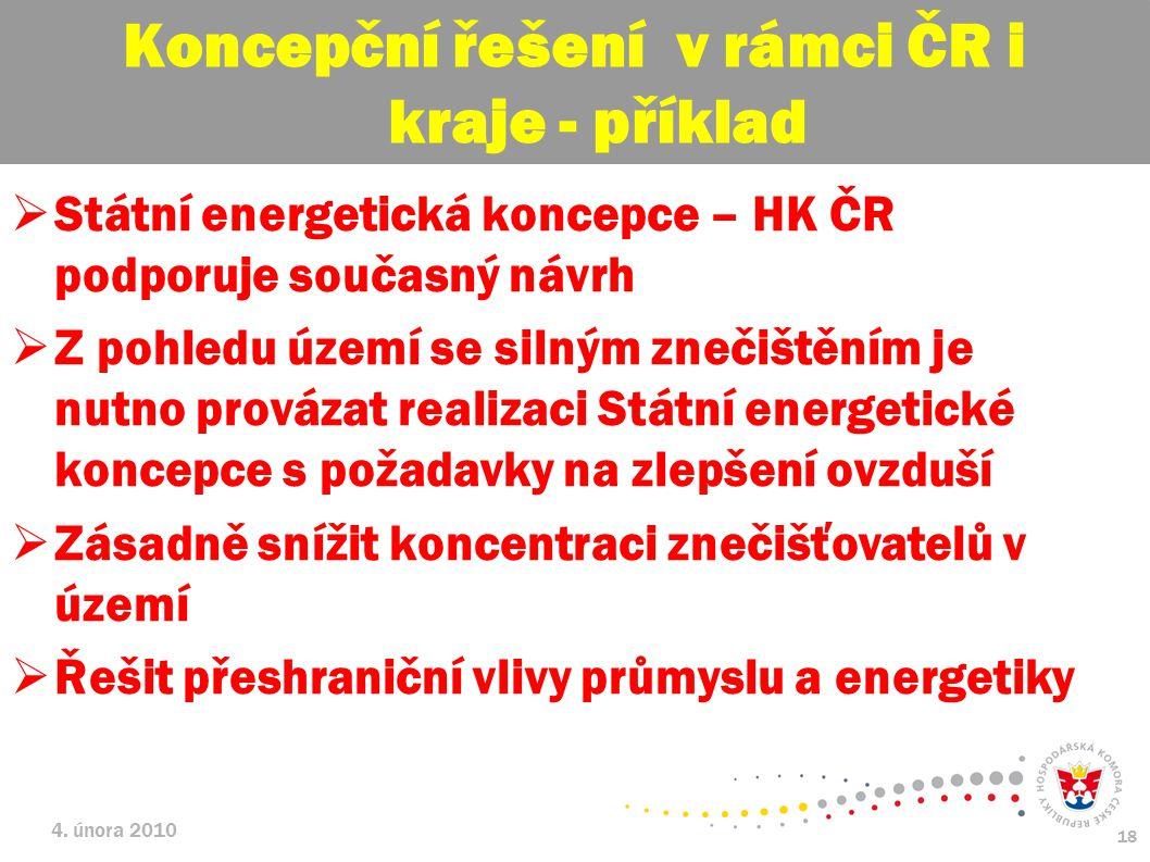 Koncepční řešení v rámci ČR i kraje - příklad