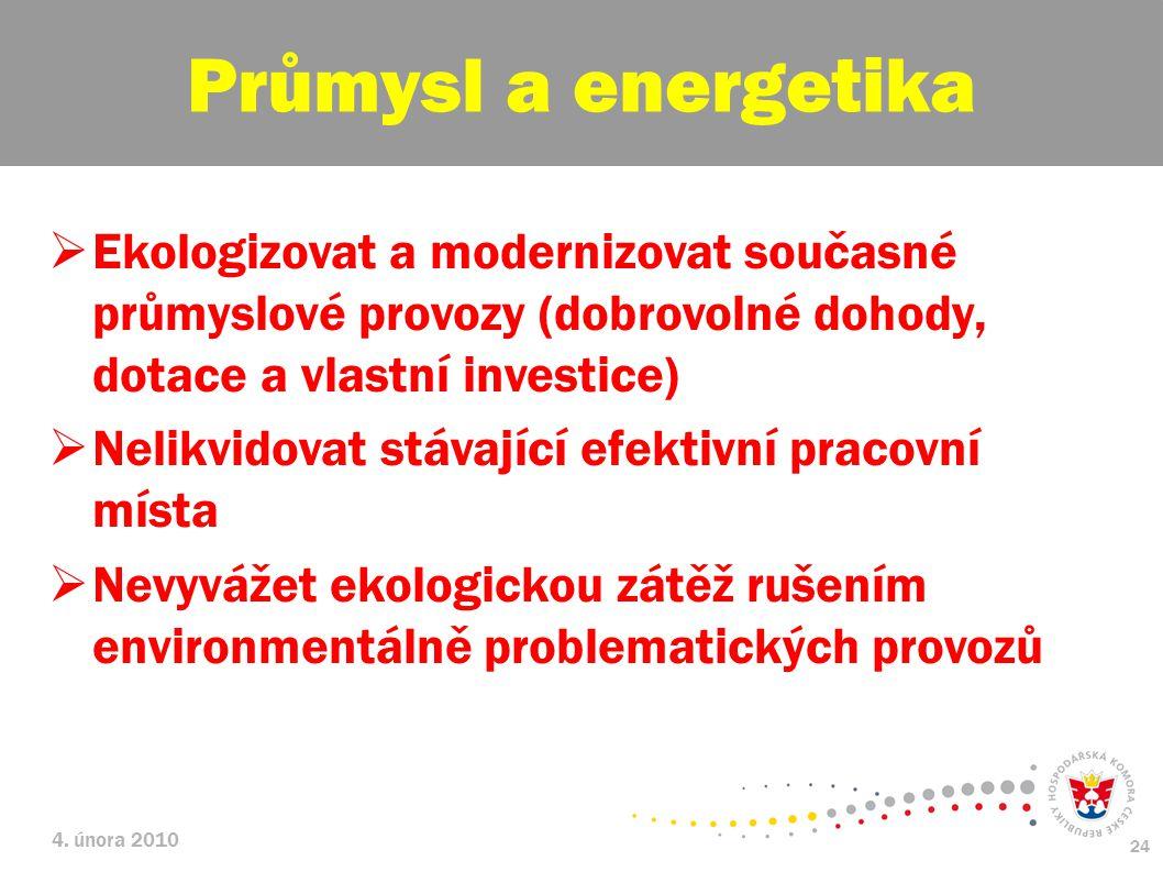 Průmysl a energetika Ekologizovat a modernizovat současné průmyslové provozy (dobrovolné dohody, dotace a vlastní investice)