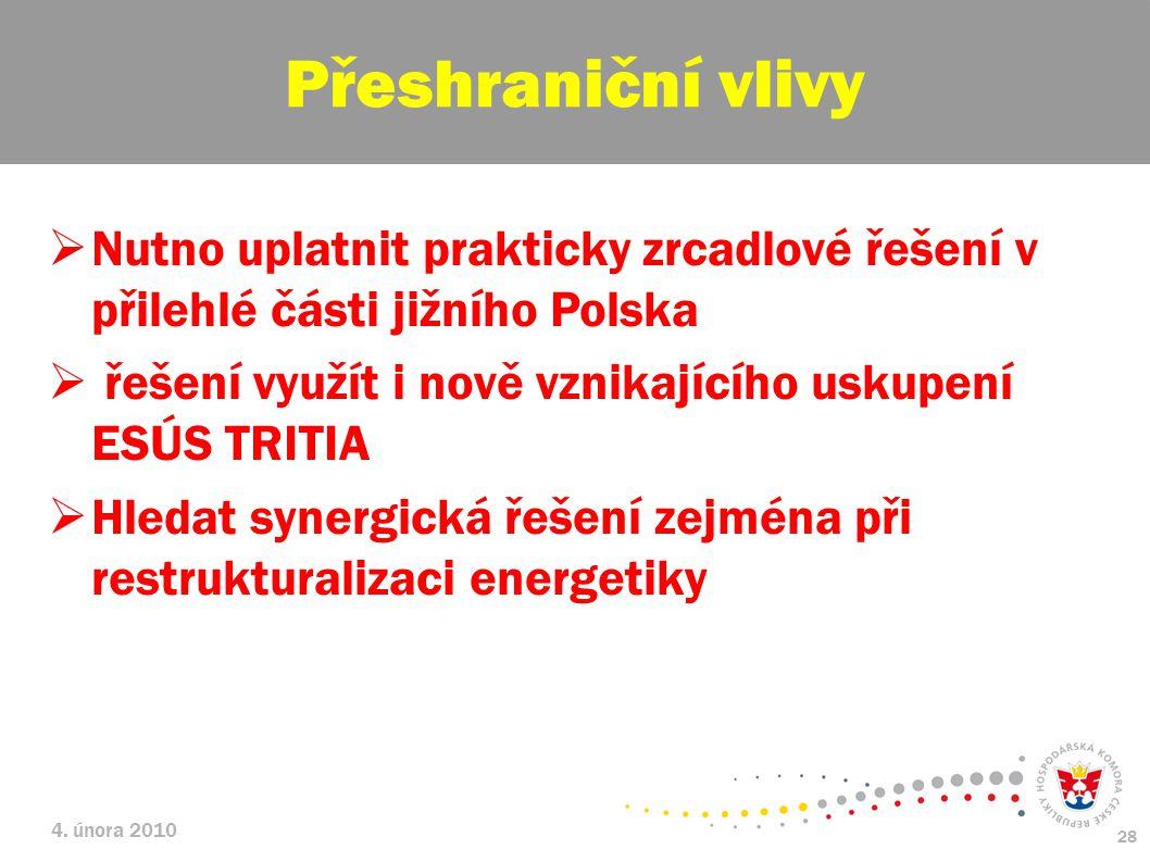 Přeshraniční vlivy Nutno uplatnit prakticky zrcadlové řešení v přilehlé části jižního Polska. řešení využít i nově vznikajícího uskupení ESÚS TRITIA.