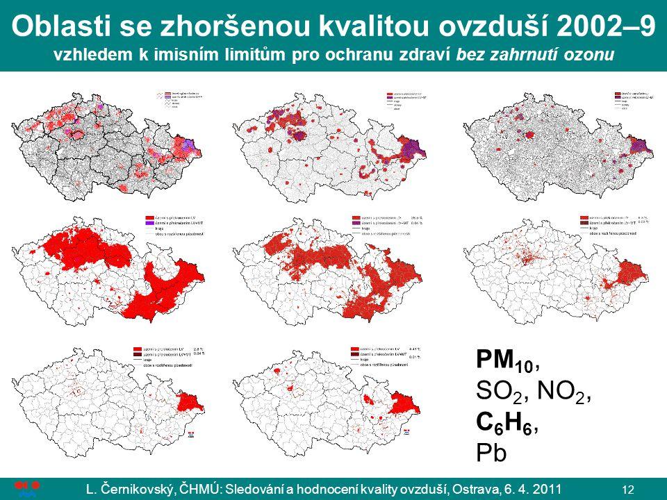 Oblasti se zhoršenou kvalitou ovzduší 2002–9 vzhledem k imisním limitům pro ochranu zdraví bez zahrnutí ozonu