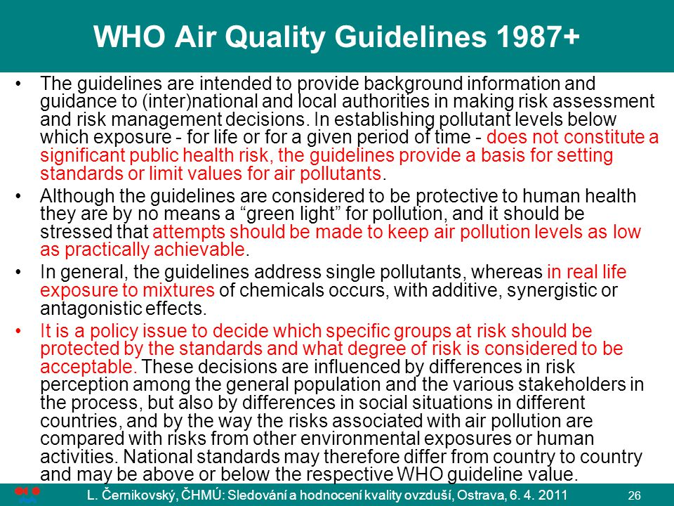 WHO Air Quality Guidelines 1987+