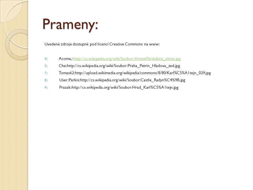 Prameny: Uvedené zdroje dostupné pod licencí Creative Commons na www: