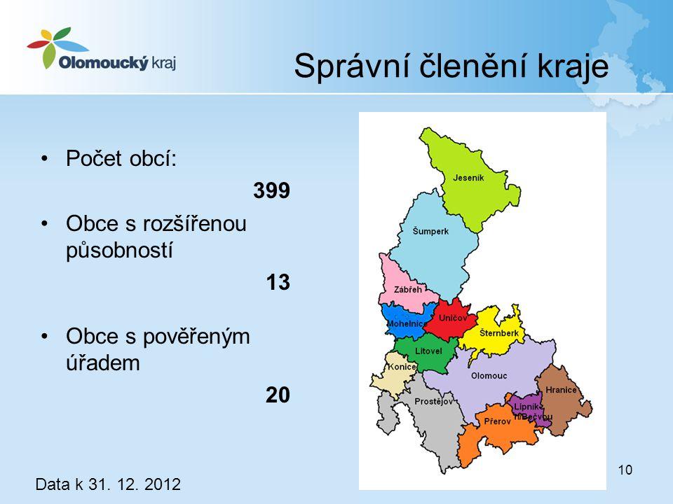 Správní členění kraje Počet obcí: 399 Obce s rozšířenou působností 13