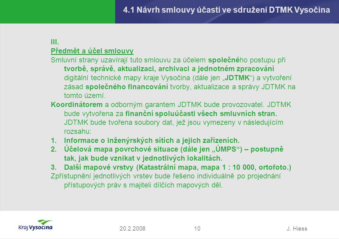 4.1 Návrh smlouvy účasti ve sdružení DTMK Vysočina