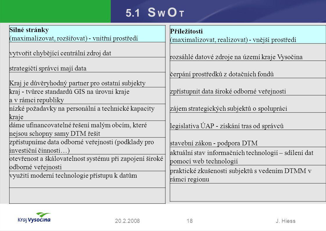 5.1 S W O T Silné stránky (maximalizovat, rozšiřovat) - vnitřní prostředí. vytvořit chybějící centrální zdroj dat.