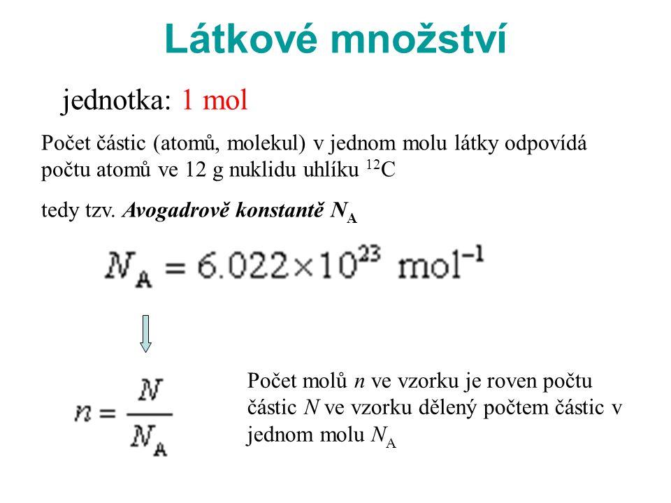 Látkové množství jednotka: 1 mol