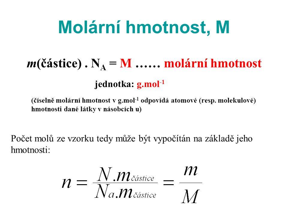 Molární hmotnost, M m(částice) . NA = M …… molární hmotnost