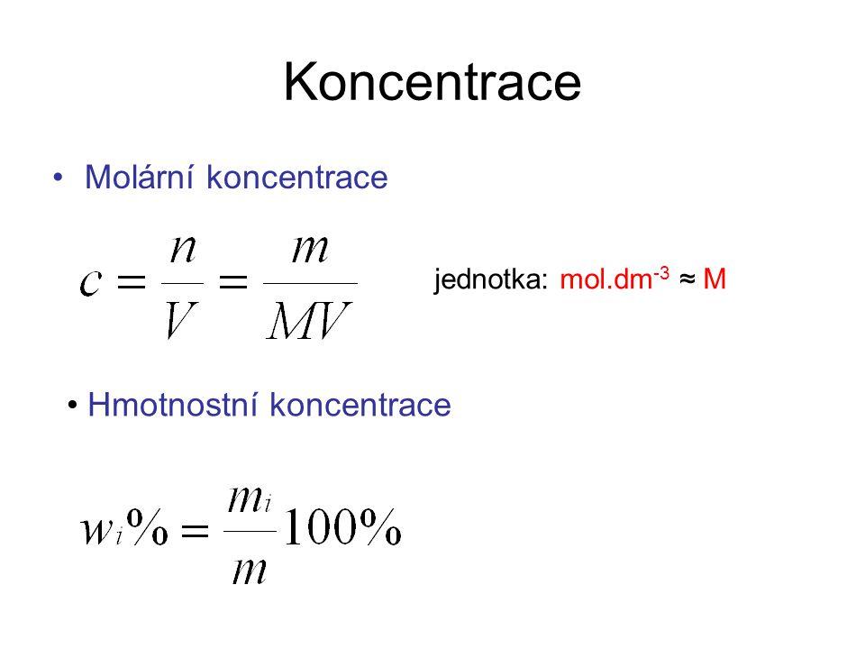 Koncentrace Molární koncentrace Hmotnostní koncentrace